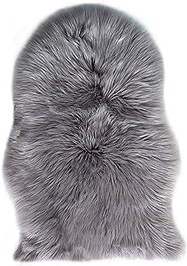Agnello Pecora Tappeto, Pecora Agnello imitazione pelliccia sintetica decorativa Fell, Capelli lunghi imitazione cotone letto divano Matte Tappetino da bagno (Grigio, 60 x 90 cm)