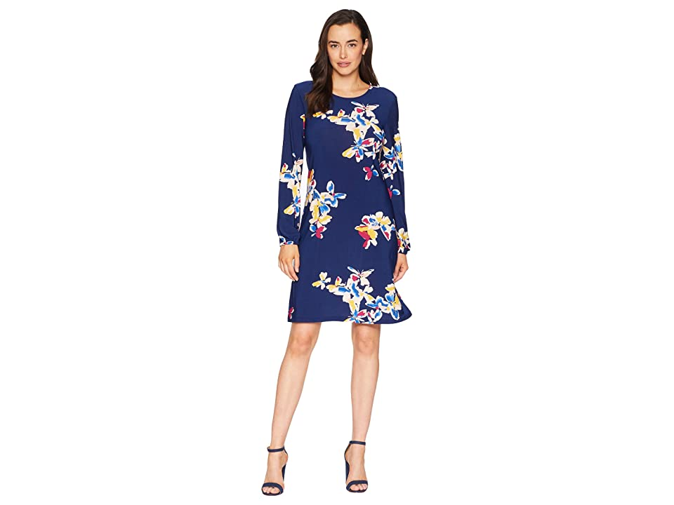 Nine West Ity Printed Long Sleeve Dress (Blue Note Multi) Women