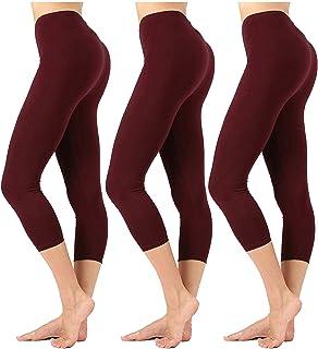 KOGMO Womens Premium Cotton Comfortable Stretch Capri Leggings 19in Inseam