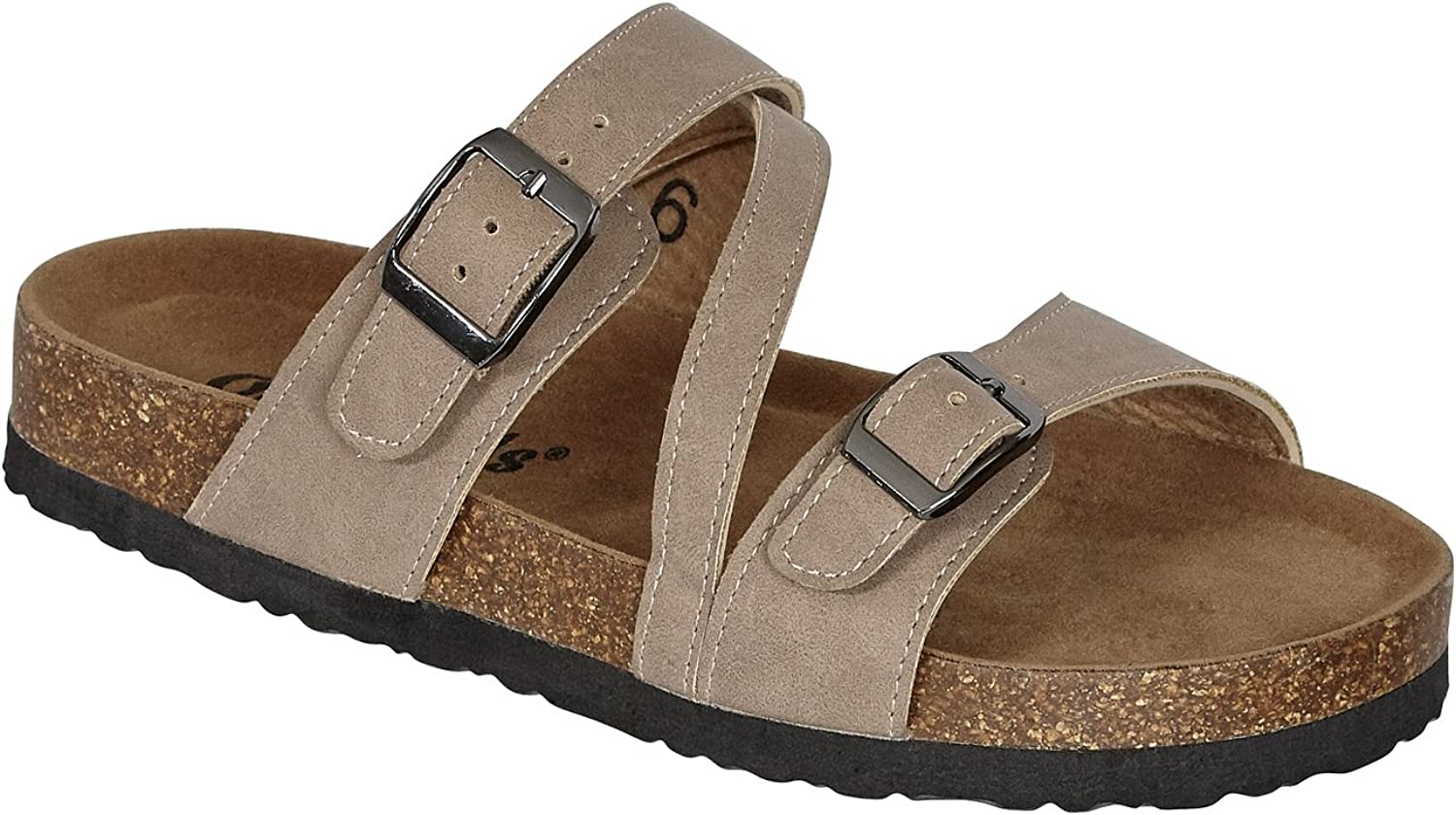Outwoods Bork-56 Women's Strappy Buckle Slide Sandals