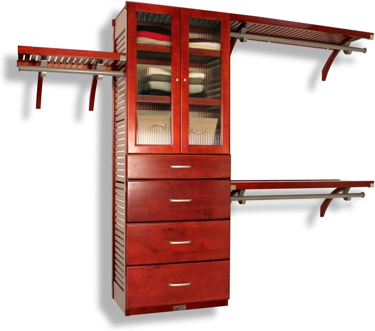 John Louis Home 16 in. Deep Deluxe Solid Wood Closet Organizer, 4 Drawers with Doors, Red Mahogany Finish