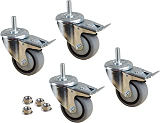 "POWERTEC TPR Kit 17201 3"" Dual Locking Swivel Gray Thermoplastic Wheels Heavy Duty 150 Lbs Per Caster (Set of 4), 3-Inch"