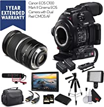 Canon EOS C100 Mark II 0202C002 with Dual Pixel CMOS AF & 17-55MM Lens with 2 Memory Cards, 2 Extra Batteries, Mic, Case, Light, Monitor Warranty + More - Professional Bundle - International Version