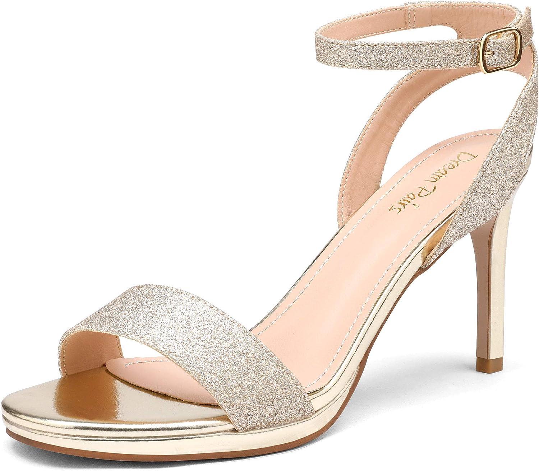 DREAM PAIRS Women's High Stiletto Open Toe Ankle Strap Heels Dress Pump Heel Sandals