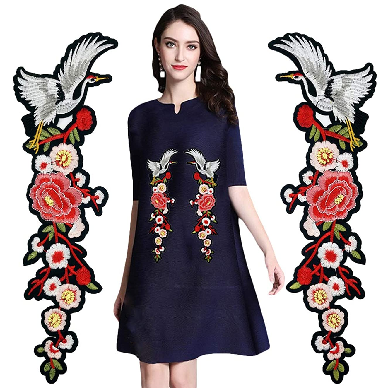 Bird Flower Iron on Patches Embroidered Applique Sew on Floral Patches for DIY Decorative Jeans, Jackets, Clothing, Dress (1 Pairs)