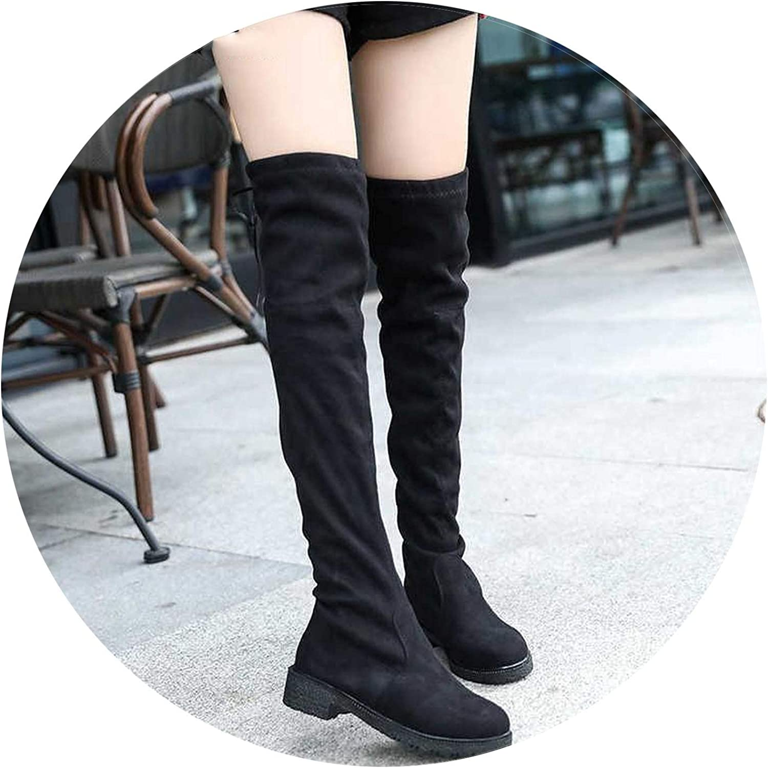 Winter Over The Knee Heels Suede Long Comfort Square Short Plush Botas women Thigh High
