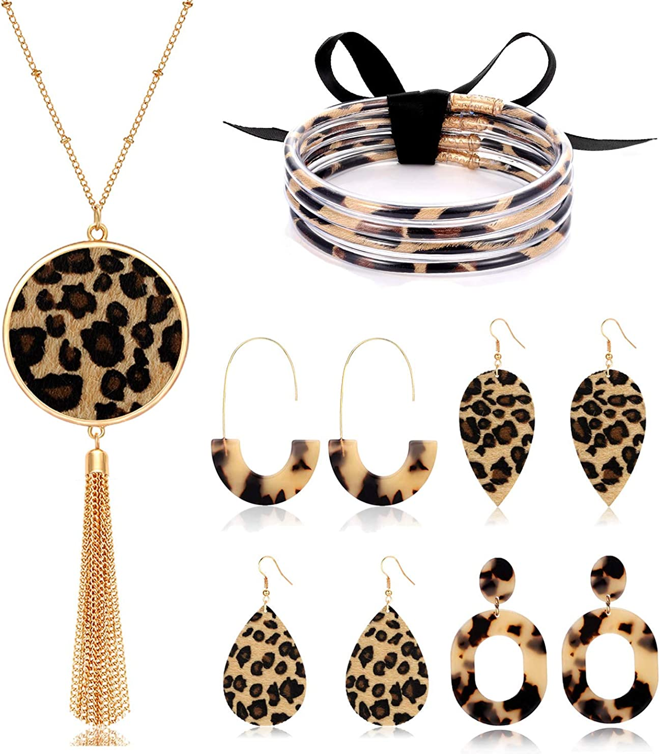 Leopard Necklace Acrylic Earrings Silicone Jelly Bangles for Women Leopard Jewelry Set Long Pendant Necklaces Resin Hoop Dangle Earrings Leather Leaf Earrings Silicone Bracelets for Girls