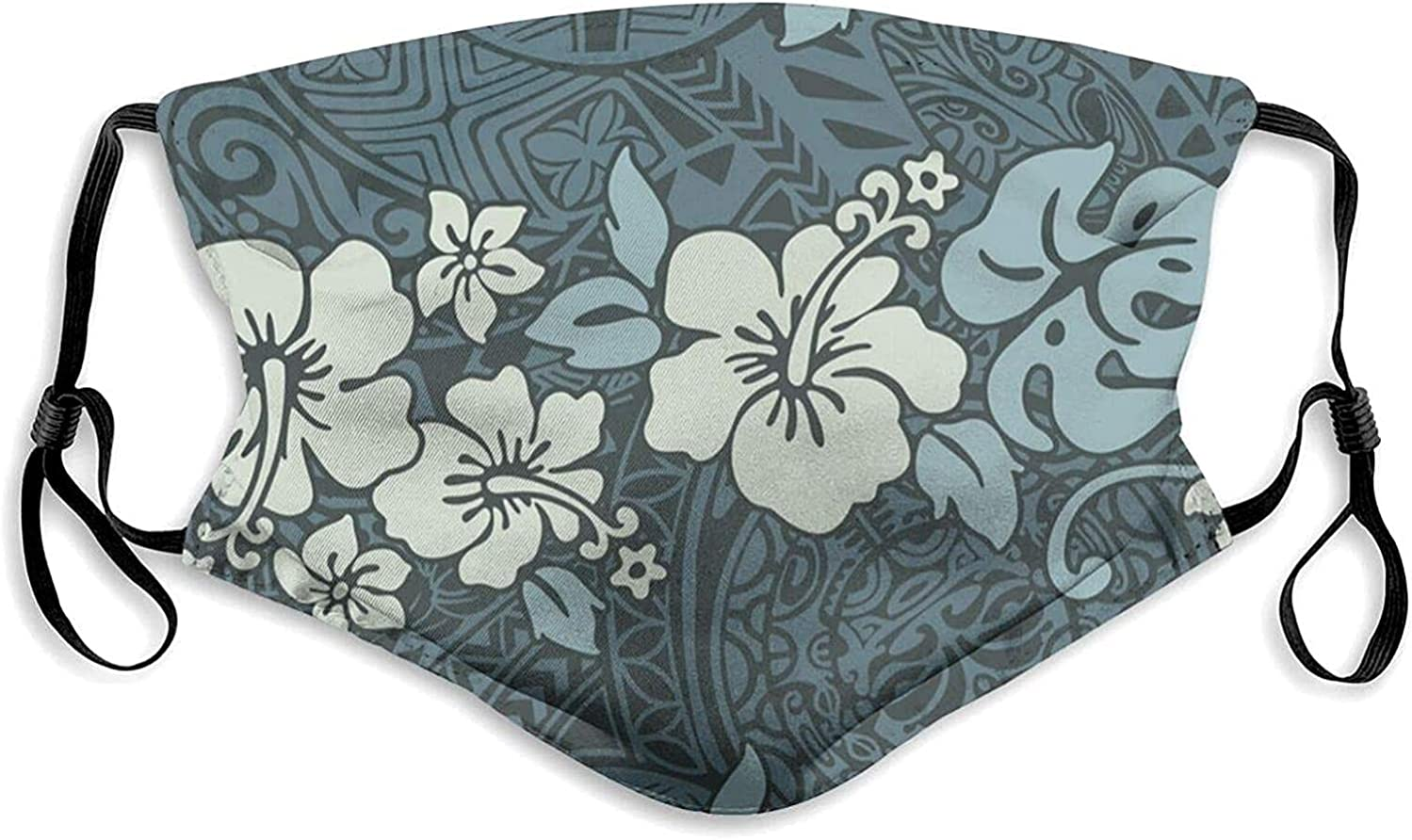 Vintage Hibiscus Tribal Hawaii Face Mask with Filter Pocket Washable Face Bandanas Balaclava Dust-Proof Print Reusable Fabric Protection with 2 Pcs Filters