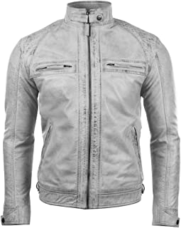 Aviatrix Men's Real Leather Crosshatch Shoulder Detail Fashion Jacket (44T9)