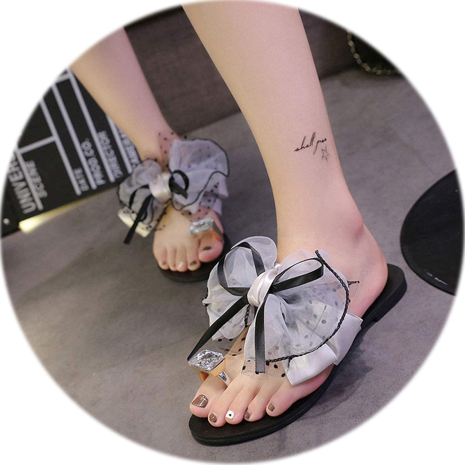 Rather be Women Flip Flops shoes Flower Bow Flat Heel Toe Sandals Slipper Beach shoes Casual shoes 2019 Outside Slippers