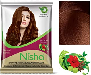 Nisha henna-based Semi Permanent Hair color 15gm each packet made from 100% Natural henna leaf No ammonia Natural Brown (Pack of 10)