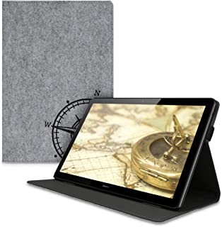 kwmobile Case Compatible with Huawei MediaPad T5 10 - Slim Felt Tablet Cover with Stand Feature - Navigational Compass Bla...