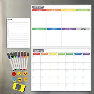 Magnetic Dry Erase Refrigerator Calendar - Monthly Calender and Today List, Fridge Whiteboard with Back Magnet - Color Pla...