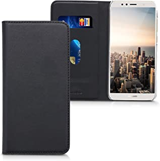 kwmobile Flip Case for Huawei Y6 (2018) - Smooth PU Leather Wallet Folio Cover with Stand Feature - Black