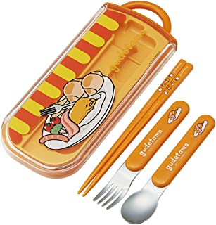 Skater Sanrio Gudetama Egg Lunch Box Utensil Set - Includes Reusable Fork, Spoon, Chopsticks and Carrying Case - Authentic Japanese Design - Durable, Dishwasher Safe