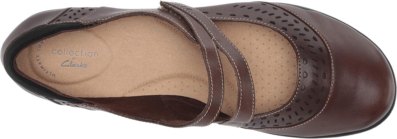 Clarks Womens Cheyn Lola-Dark Brown Leather-12w Mary Jane Flat
