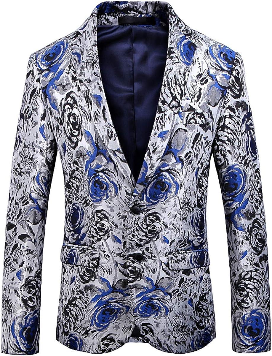 OUYE Men's Casual Blue Black Rose Print Sport Coat