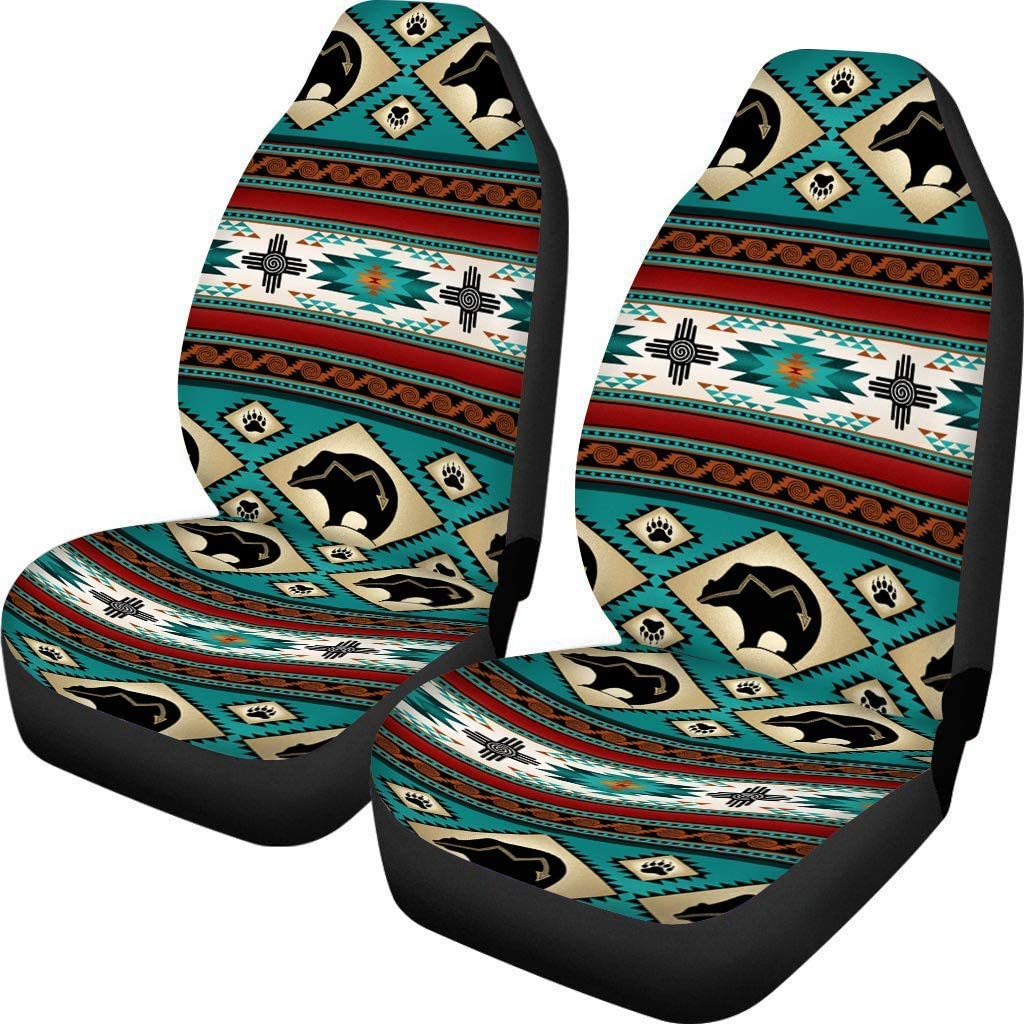 NETILGEN Baja Bear Seat Cover for Auto, Soft Fabric Seat Cushion Protector, Automotive Accessories Set, Polyester Elastic, Travel Seat Pad, Travel Universal Fits,