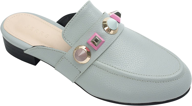 AnnaKastle Womens Coloured Studded Backless Loafer Mule Slipper