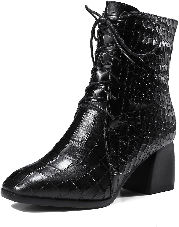 JAEEME Damer med tårtor, tårtor, tårtor, fyrkantiga klackar Genuine läder stövlar svart Mid Heel Ankle kvinnor stövlar  upp till 60% rabatt
