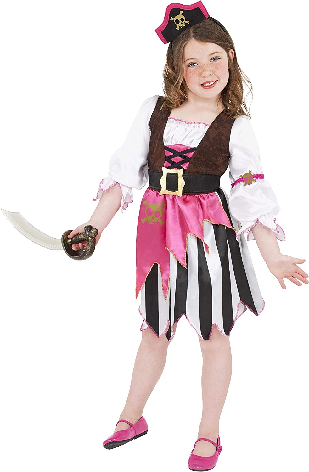 Smiffys Pirate Girl Costume, pink, Medium