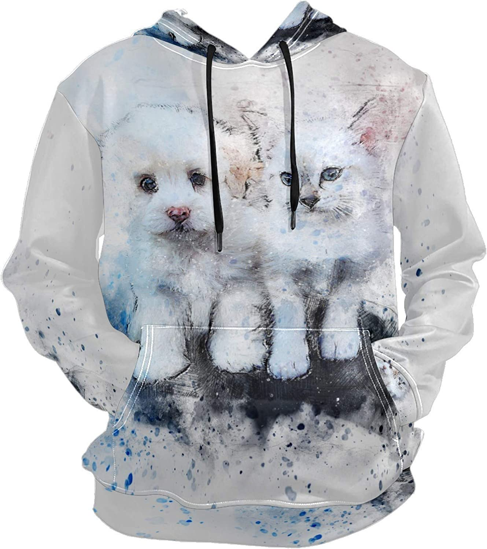 Men's Sport Hoodie Cute White Puppy Cat Splash Ink Watercolor Big and Tall Hoodies for Men Women Oversized Hooded Sweatshirt Hip Hop Pullover Hoodie Midweight Hood for Boys Girls