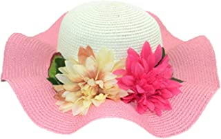 Splicing UV Protection Women Girl Wide Brim Hat Flower Decor Summer Large Brimmed Hat Straw Braid Beach Sunhat Cap