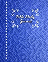 Bible Study Journal: Journaling Notebook Workbook Soft Cover Blue Faux Leather 90 Days To Record Bible Studies 8.5 x 11