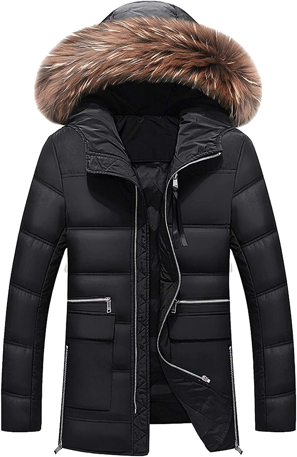 CrazyShop Winter Jacket for Fur Collar Long Jacket with Size M3XL