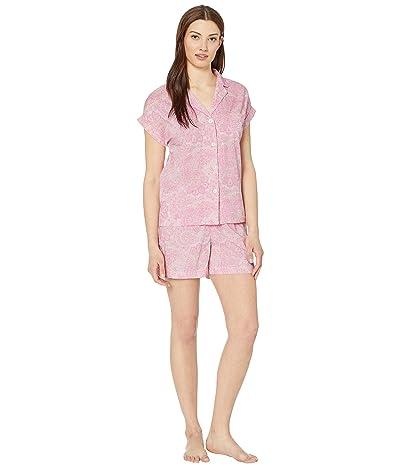 LAUREN Ralph Lauren Woven Short Sleeve Dolman Pointed Collar Boxer Pajama Set (Multi Paisley) Women