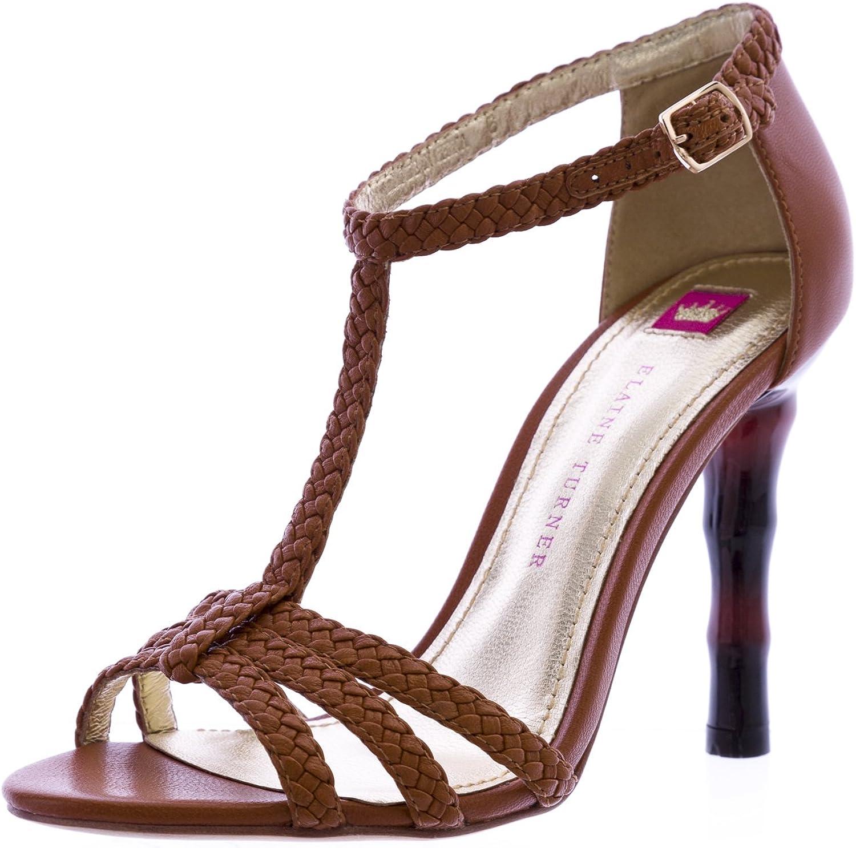 Elaine Turner Briana-SP12 Ribbed Heel Sandals Cognac