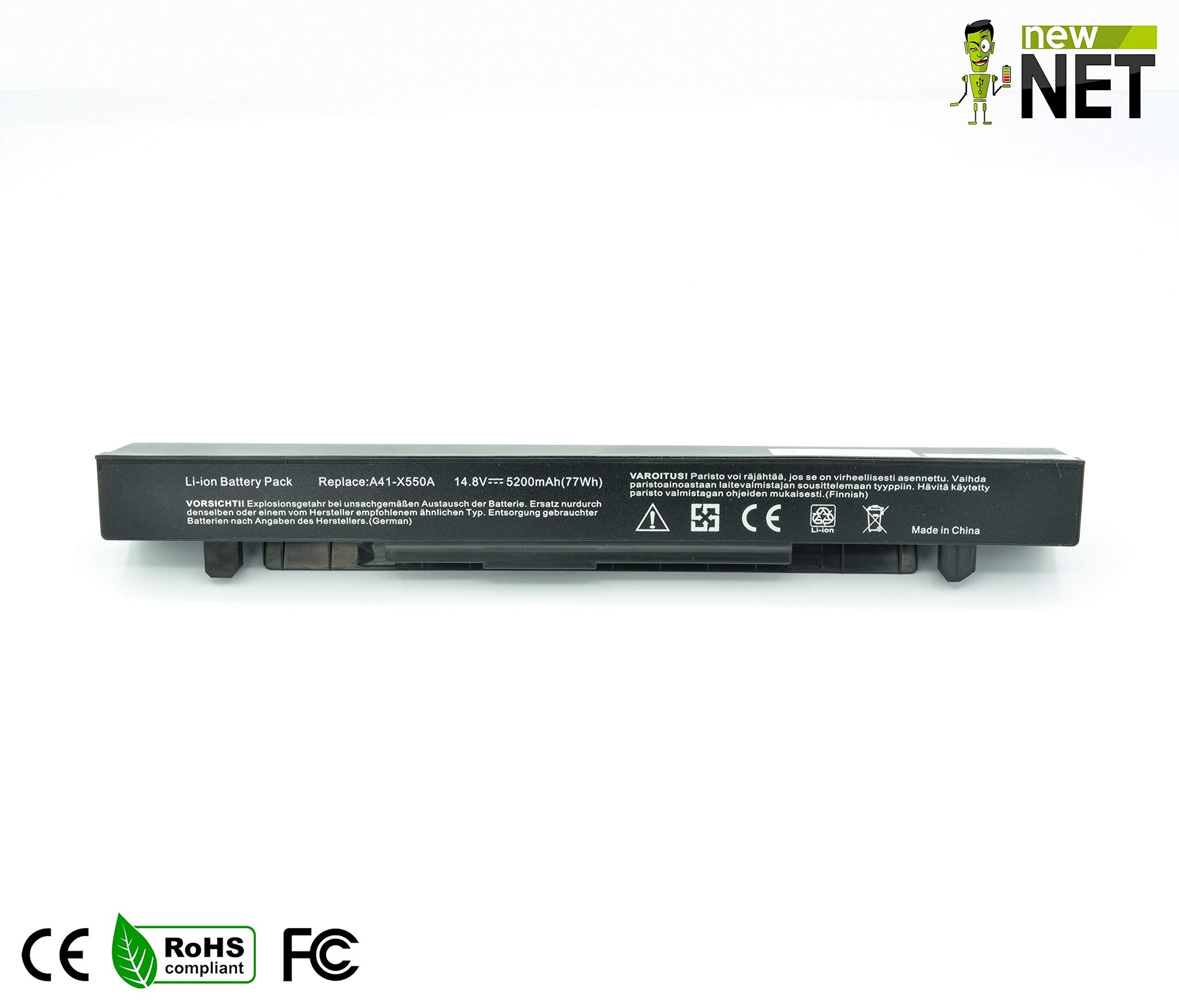 New Net - Batería de 5200 mAh Compatible con portátiles ASUS A41-X550 A41-X550A A41X550 A41 X550 A41X550A Pro550C X550A X55L82H F552MA450C Y581LB Y581LC Y582C: Amazon.es: Electrónica