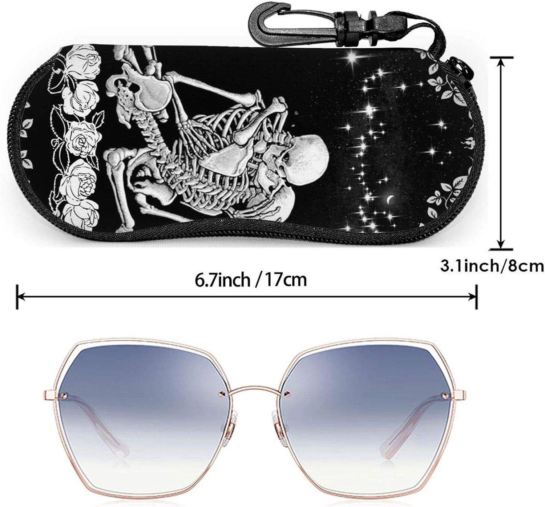 Glasses Case,Sunglasses Soft Case for Women Men Zipper With Carabiner Belt Clip