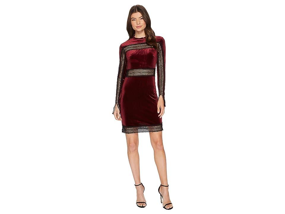 ROMEO & JULIET COUTURE Velvet w/ Sheer Lace Trim Dress (Burgundy) Women