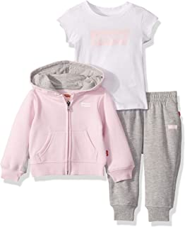 Levi's Baby Girls' Graphic T-Shirt, Hoodie and Joggers 3-Piece Outfit Set