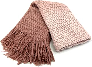 ZIGGUO Super Soft Dusty Pink Knit Throw Blanket Blush for Sofa Couch Chair Bed, Lightweight Travel Blanket Nap Throw, Cashmere-Like Soft and Cozy, Delicate Weave Pattern with Fringe, 50