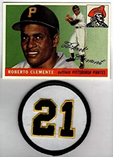 ROBERTO CLEMENTE HOF 1955 Topps Rookie RC #164 With #21 Embroidered Patch Pittsburgh Pirates REPRINT - Baseball Card