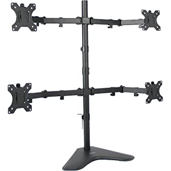 VIVO Quad LCD Computer Monitor Mount Free Standing Heavy Duty Desk Stand, Fully Adjustable | Holds 4 Screens up to 30 inches (STAND-V004F)