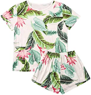 SweatyRocks Women's Soft Pajama Sets Tropical Print T Shirt and Short Sleepwear Pjs Sets