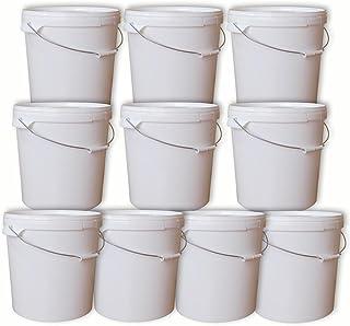 Lot de 10 seaux plastique 20 L conteneur qualité alimentaire avec anse et couvercle (10x22050)