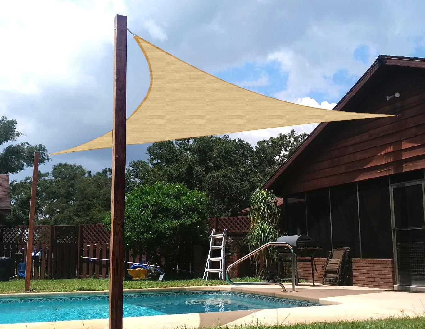 AXT SHADE Toldo Vela de Sombra Triangular 3, 6 x 3, 6 x 3, 6 m, protección Rayos UV y HDPE Transpirable para Patio, Exteriores, Jardín, Color Arena: Amazon.es: Jardín