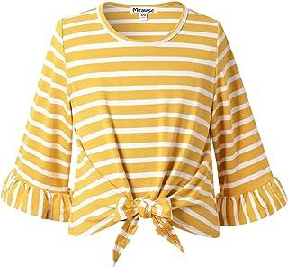 Girl's 3/4 Sleeve Twist Tie Front Shirt TopT-Shirt Tee Shirts Fall Winter Tops
