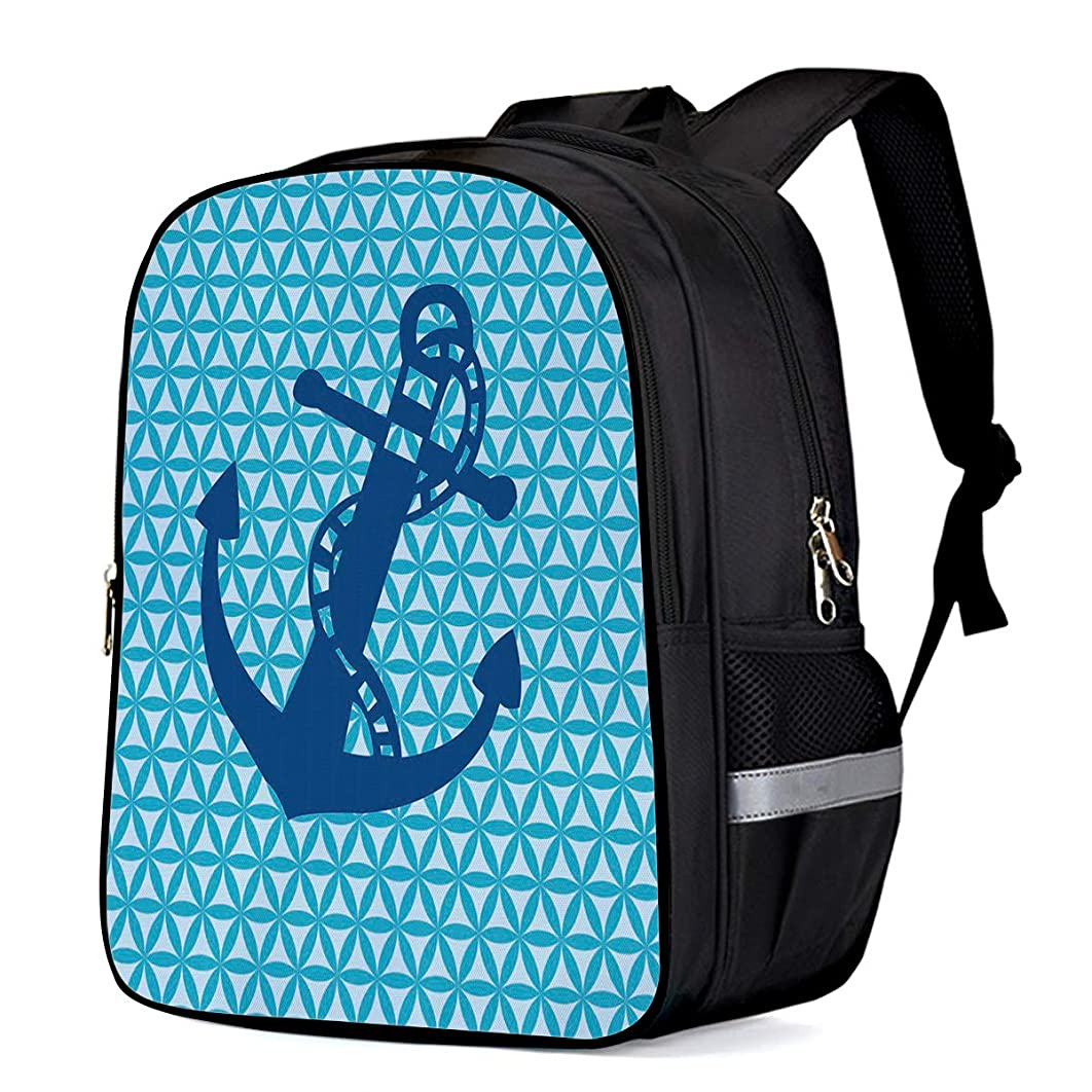 Laptop Backpack,Casual Daypacks Slim Durable Laptops Backpack Water Resistant Computer Bag for College Student Women Men,Blue Anchor in Geometric Hexagon Pattern 13