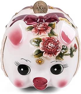 FORLONG FL2008 Ceramic Piggy Bank,Coin Bank,Money Box,Hand Painted Flower Pig Design (Small )