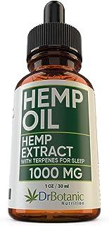 Hemp Oil for Anxiety: with 1000mg Hemp Extract: Valerian Root and Melatonin. Helps Better Sleep, Stress, Inflammation, Pai...