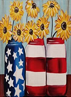 Selmad July 4th Patriotic Sunflower Garden Flag Red White Blue Jar Double Sided, USA Summer Burlap Decorative House Yard Decoration, Fall Flower American Seasonal Home Outdoor Décor 12 x 18 Autumn