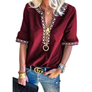 Women's Summer T-Shirt Tops Boho Embroidered V Neck Short Sleeve Casual Loose Blouse