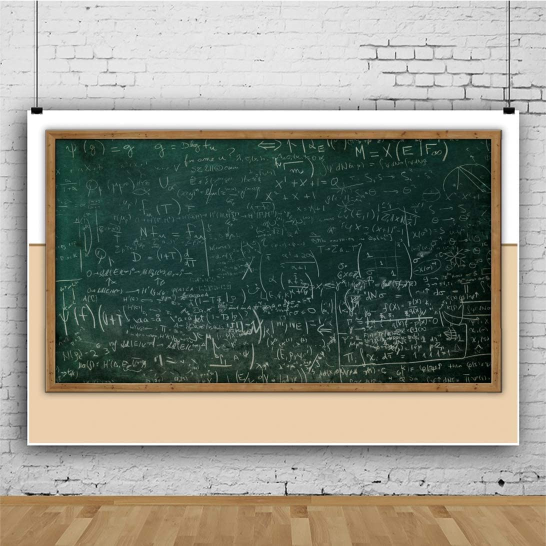 DaShan 6.5x5ft Polyester Classroom Chalkboard Back to School Backdrop Online Course Decor Teacher Online Teaching Photography Background Math Formula Study School Event First Day of School Photo Prop