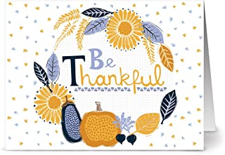 Note Card Cafe Thanksgiving Card Set with Envelopes | 24 Pack | Blank Inside, Glossy Finish | Harvest Be Thankful Design |...
