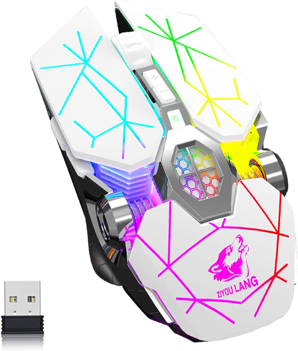Wireless Bluetooth Gaming Mouse Rechargeable with 7 Button Rainbow RGB Multi Color Breathing Backlit 3 Adjustable DPI Ergonomic Grip Slient Click Power Saving Mode for PC Mac Gamer Officer(StarWhite)